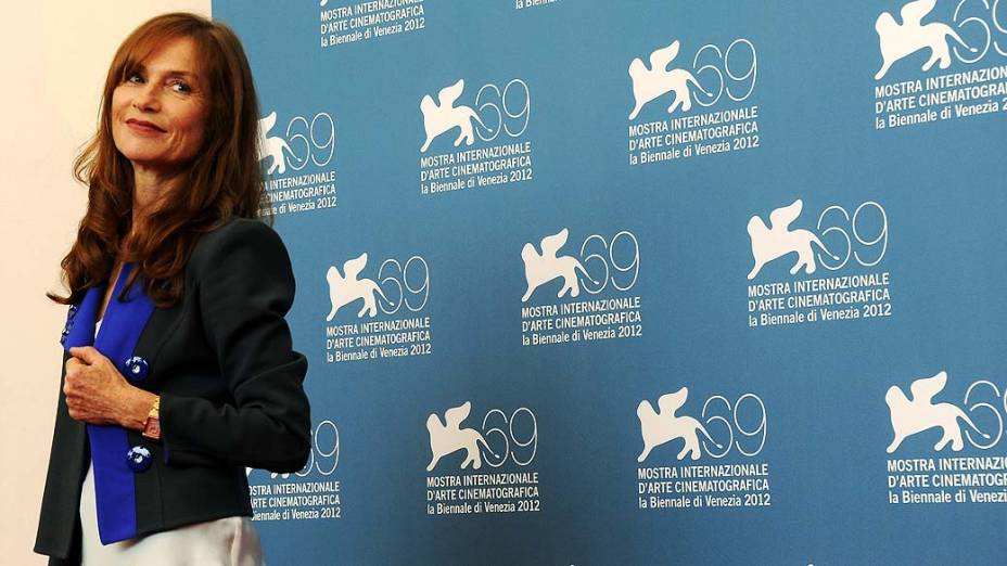 A atriz Isabelle Hupert durante o 69º Festival de Cinema de Veneza, em 05/09/2012