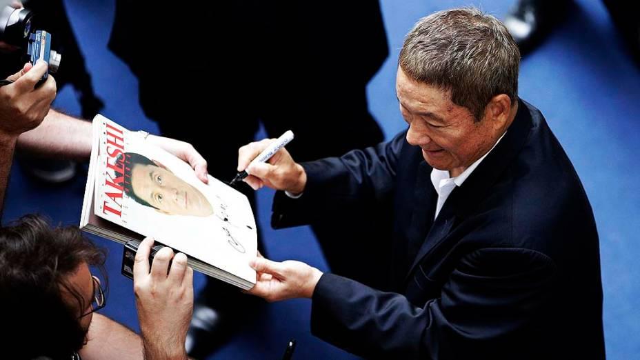 O diretor japonês Takeshi Kitano durante o 69º Festival de Cinema de Veneza, em 03/09/2012