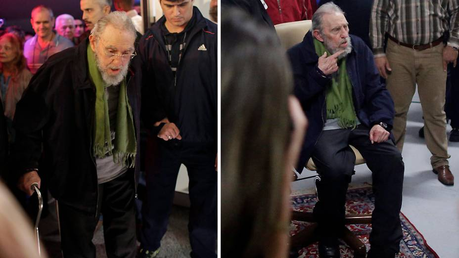 Fidel Castro na inauguração de uma galeria de arte em Havana