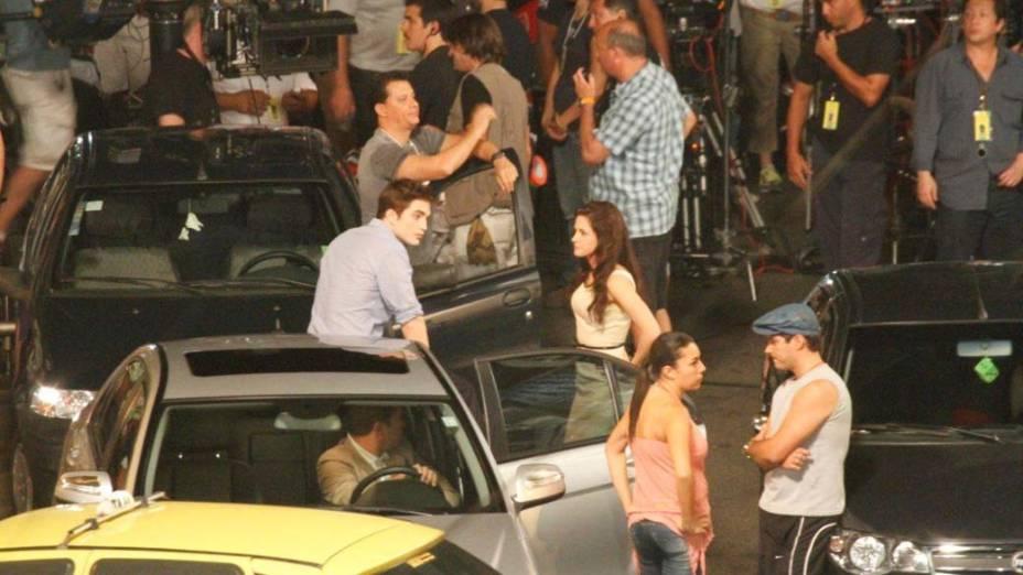 Robert Pattinson e Kristen Stewart gravam cenas de Amanhecer, o quarto filme da saga Crepúsculo, na Lapa, Rio de Janeiro