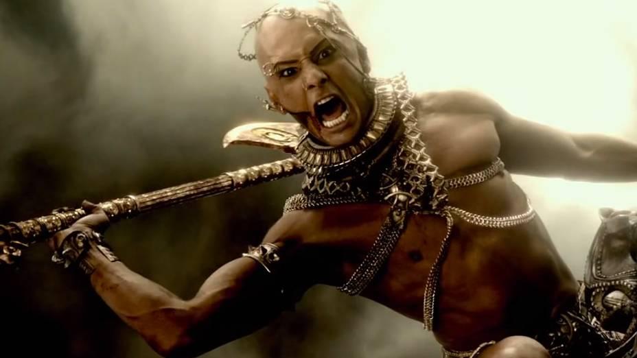 Rodrigo Santoro no filme 300 - A Ascensão do Império, que mostra a transformação de Xerxes, seu personagem