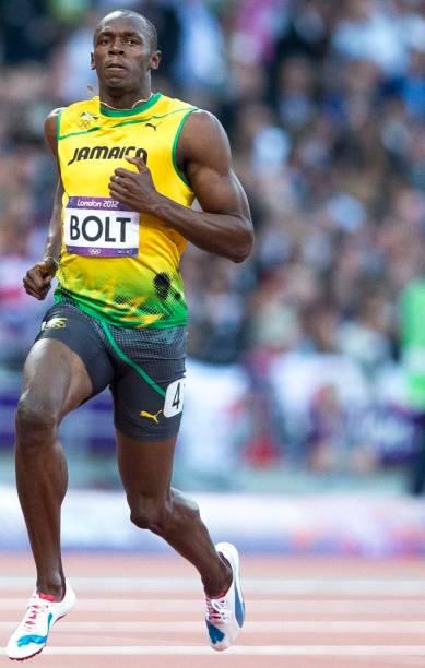 O jamaicano Usain Bolt nos 100 metros rasos em Londres-2012