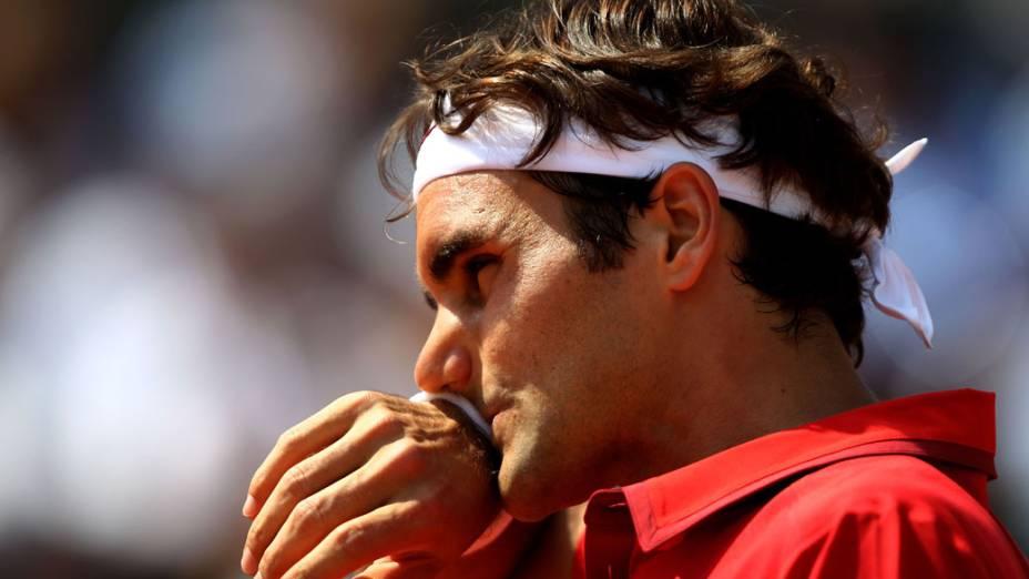 Roger Federer, da Suíça, durante a final de Roland Garros, em Paris
