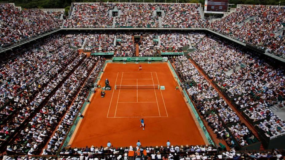 Visão geral do estádio em Paris durante a final de Roland Garros