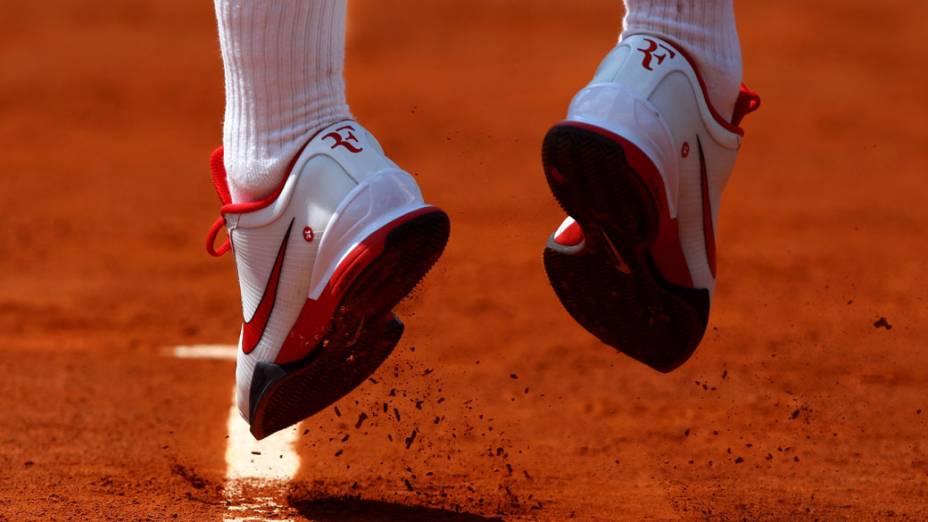 Detalhe do tenista suíço Roger Federer durante a partida final de Roland Garros