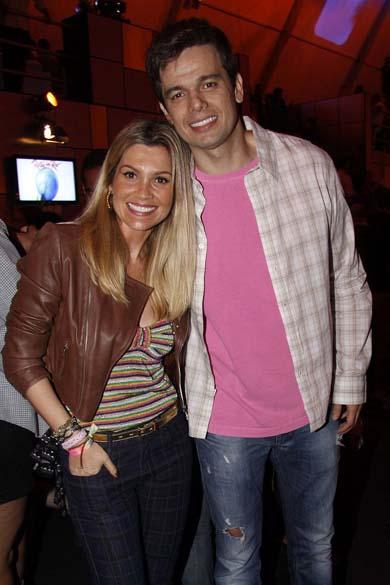 Flávia Alessandra e Otaviano Costa no primeiro dia do Rock in Rio, em 23/09/11