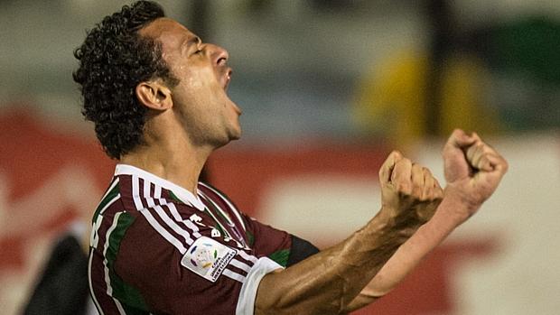 Fred vibra com o primeiro gol do Fluminense na partida