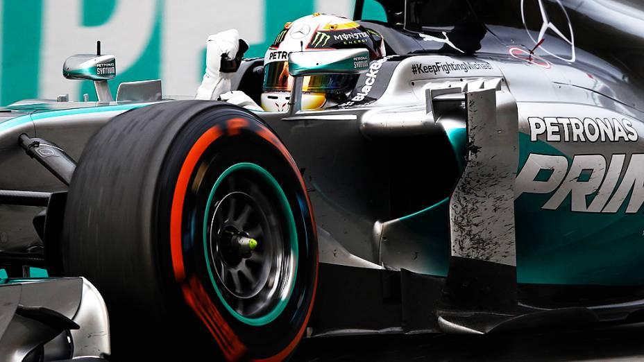 Lewis Hamilton, no GP da Malásia de 2014: vitória no circuito de Sepang