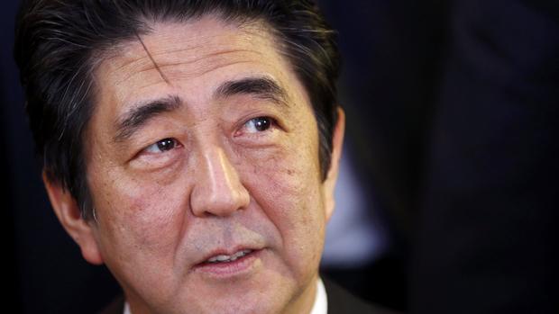 O primeiro-ministro do Japão, Shinzo Abe, no Fórum Econômico Mundial