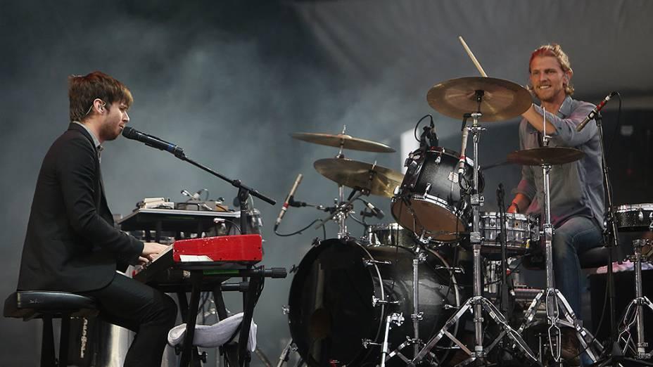 A banda Foster the People durante a apresentação, no segundo dia do Festival Lollapalooza 2015, no Autódromo de Interlagos, em São Paulo