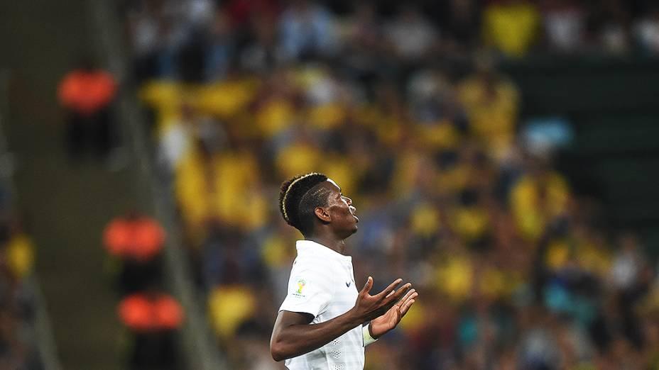 O francês Pogba durante o jogo contra o Equador