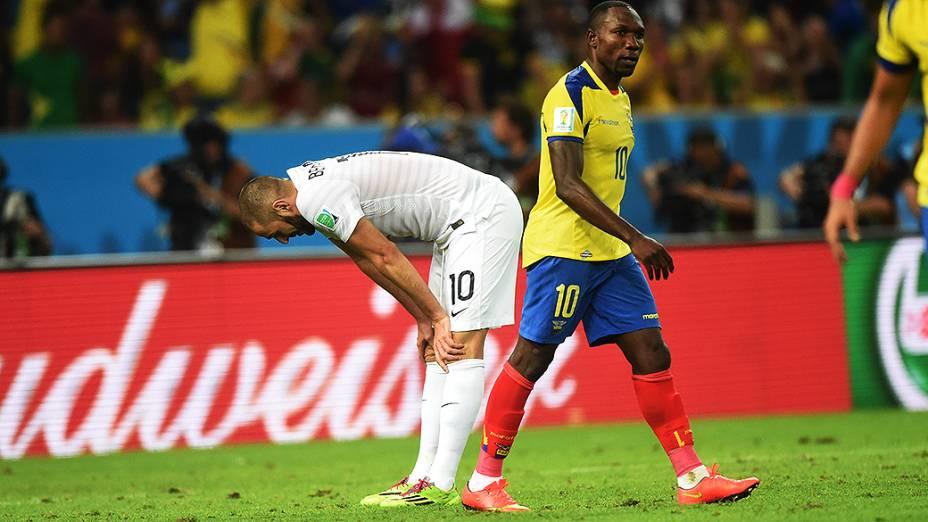Benzema, da França, durante o jogo contra o Equador no Maracanã, no Rio
