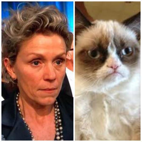 A cara mal humorada da atriz Frances McDormand também se tornou piada entre os espectadores da premiação, que a compararam com o ranzinza gato Grumpy Cat