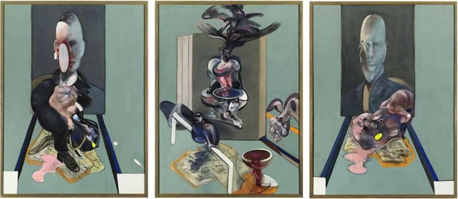 Francis Bacon – <em>Tryptich 1976</em> - 1976 - 146,4 milhões de reais - Comprador desconhecido. Um tríptico é uma pintura feita por três painéis sendo que um fixo e outros dois móveis. Este tríptico do pintor irlandês Francis Bacon (1909 - 1992) foi leiloado pela Sothebys, de Nova York por 146,4 milhões de reais em 15 de maio de 2008. Na lista dos dez mais caros, esta obra é a mais recente, produzida em 1976. O preço é bastante incomum para trabalhos de arte contemporânea.
