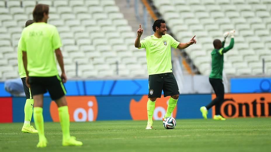 Fred durante treino da seleção antes do jogo contra o México no Castelão, em Fortaleza