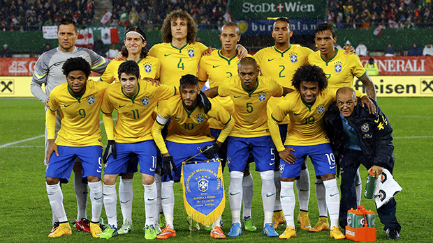 Seleção brasileira antes da partida contra a Austria