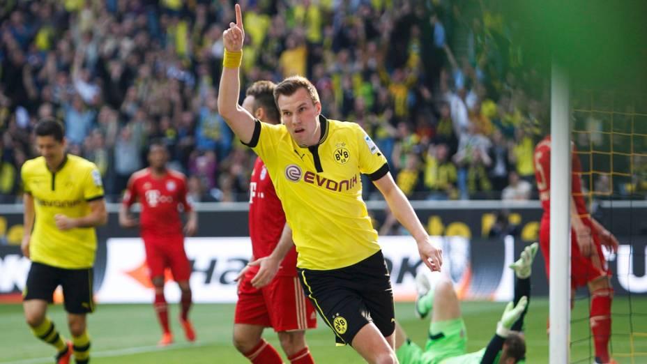 Dortmund Grosskreutz, do Borussia, comemora gol contra o Bayern