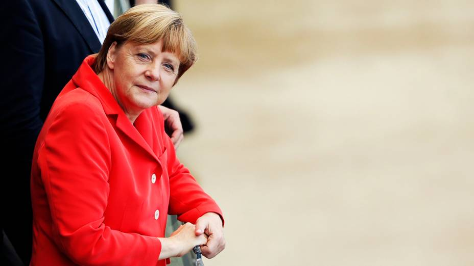A chanceler da Alemanha, Angela Merkel, comparece ao jogo contra Portugal na Arena Fonte Nova, em Salvador
