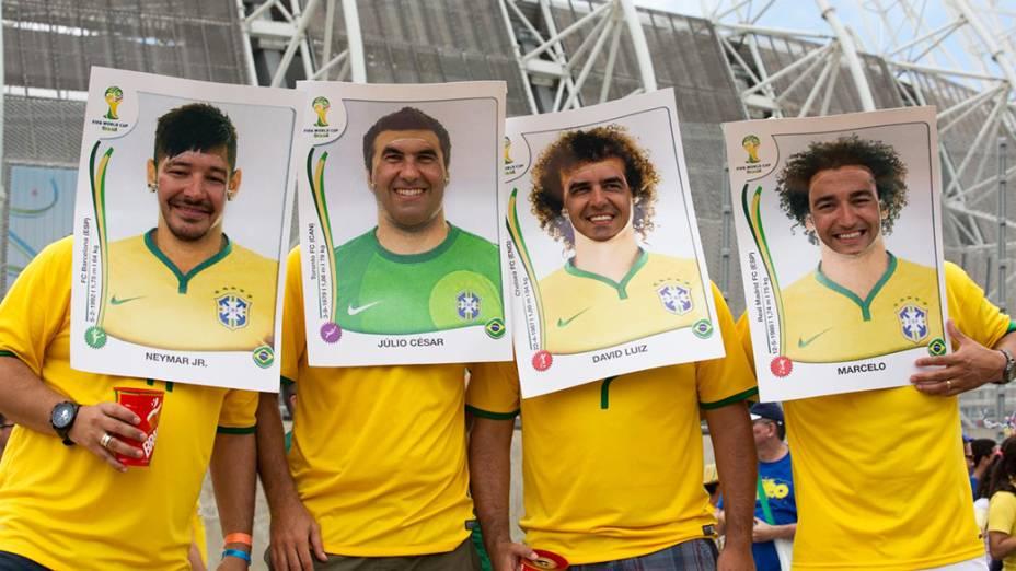 Torcedores do Brasil chegam no Castelão para o jogo contra o México, em Fortaleza
