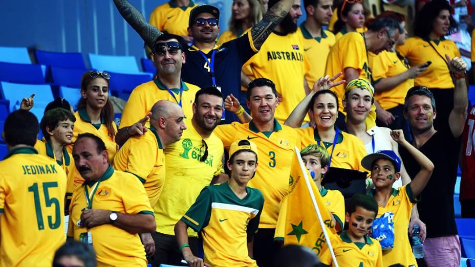 Torcedores da Austrália chegam na Arena Pantanal para o jogo contra o Chile, em Cuiabá