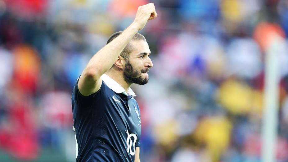 Benzema comemora gol da França contra Honduras no Beira-Rio, em Porto Alegre