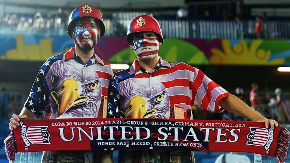 Torcedores dos Estados Unidos chegam na Arena das Dunas para o jogo contra Gana, em Natal