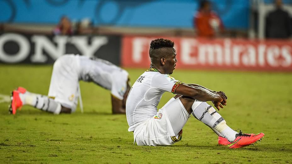 Jogadores de Gana após a derrota por 2 a 1 na partida contra os Estados Unidos, em Natal