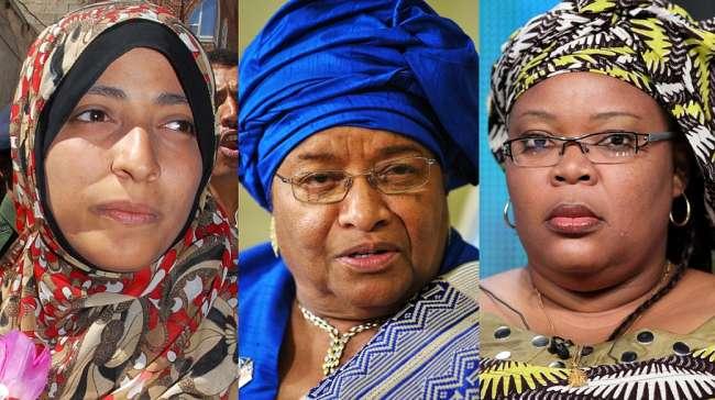 As ganhadoras (a partir da esq.): Tawakkul Karman, Ellen Johnson Sirleaf e Leymah Gbowee