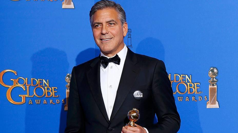 George Clooney durante 72ª edição do Globo de Ouro, prêmio da associação de correspondentes de Hollywood que elege os melhores do cinema e da TV, em Los Angeles, nos EUA