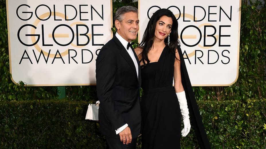 George Clooney e Amal Alamuddin durante 72ª edição do Globo de Ouro, prêmio da associação de correspondentes de Hollywood que elege os melhores do cinema e da TV, em Los Angeles, nos EUA