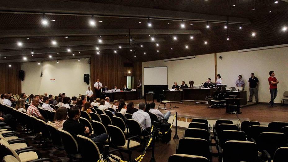 Sala onde Gil Rugai está sendo julgado no Fórum Criminal da Barra Funda