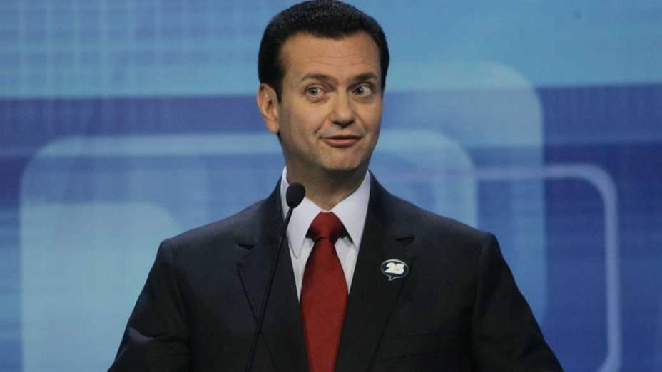 Gilberto Kassab participa de debate eleitoral na TV Bandeirantes em 2008