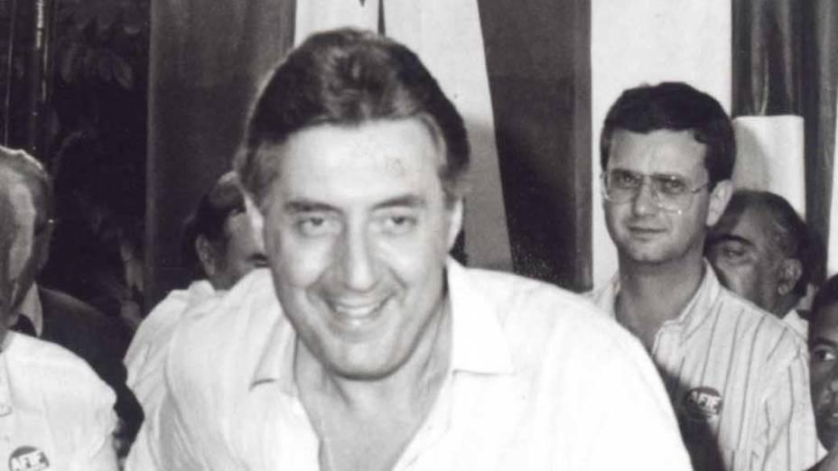Gilberto Kassab durante a campanha de Guilherme Afif Domingos para presidente da República, em 1989