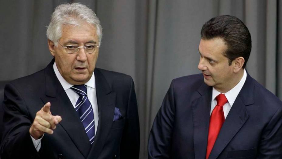 Gilberto Kassab e Afif Domingos durante evento de lançamento do PSD