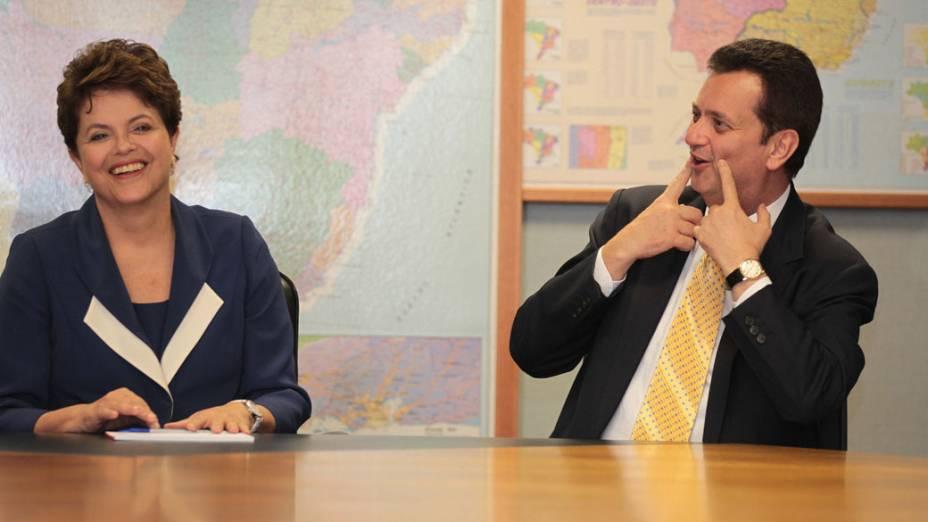 Dilma Roussef e Gilberto Kassab durante reunião em  São Paulo sobre a Copa do Mundo de 2014