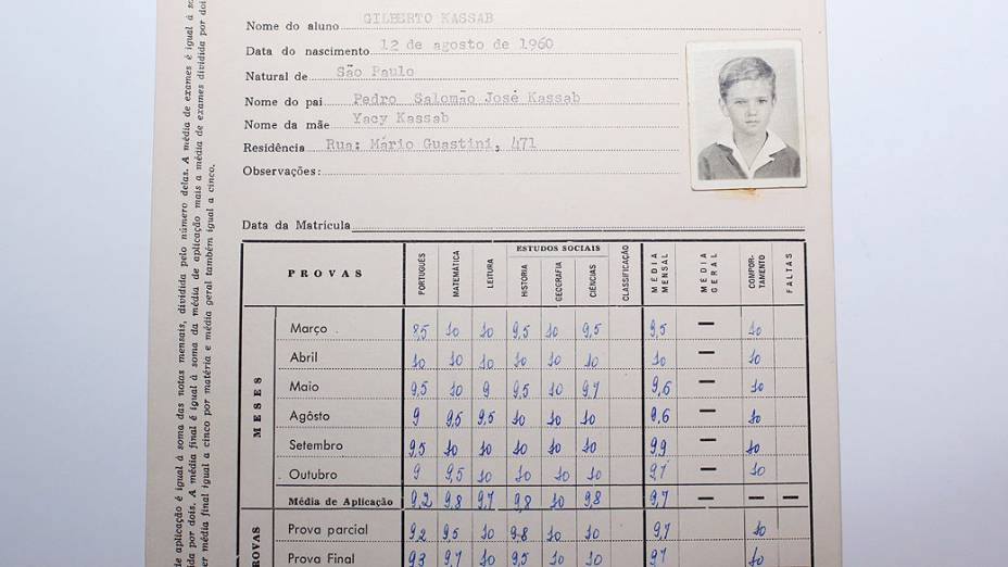 Boletim escolar de Gilberto Kassab, na escola Liceu Pasteur