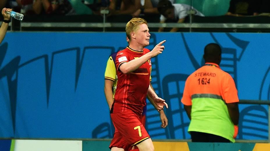 O belga Kevin De Bruyne comemora gol contra os Estados Unidos