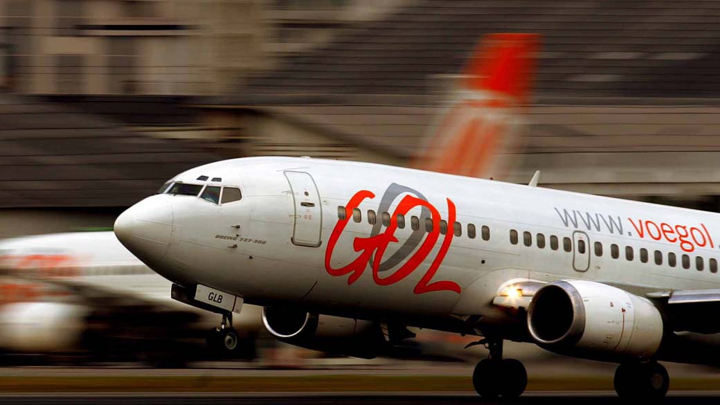 Avião da Gol durante decolagem no aeroporto de Congonhas
