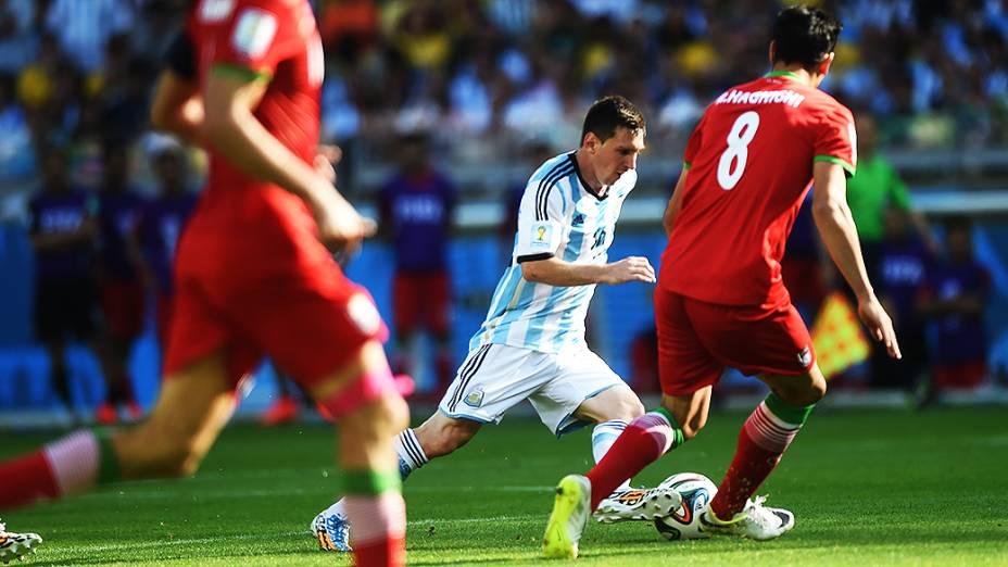 O argentino Lionel Messi durante o jogo contra o Irã no Mineirão, em Belo Horizonte