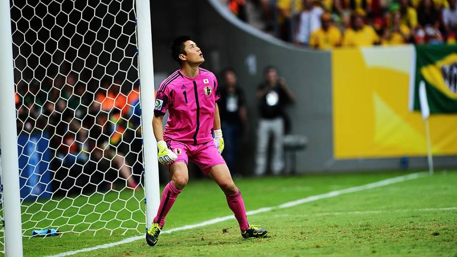 Goleiro do Japão durante jogo pela Copa das Confederações no Brasil
