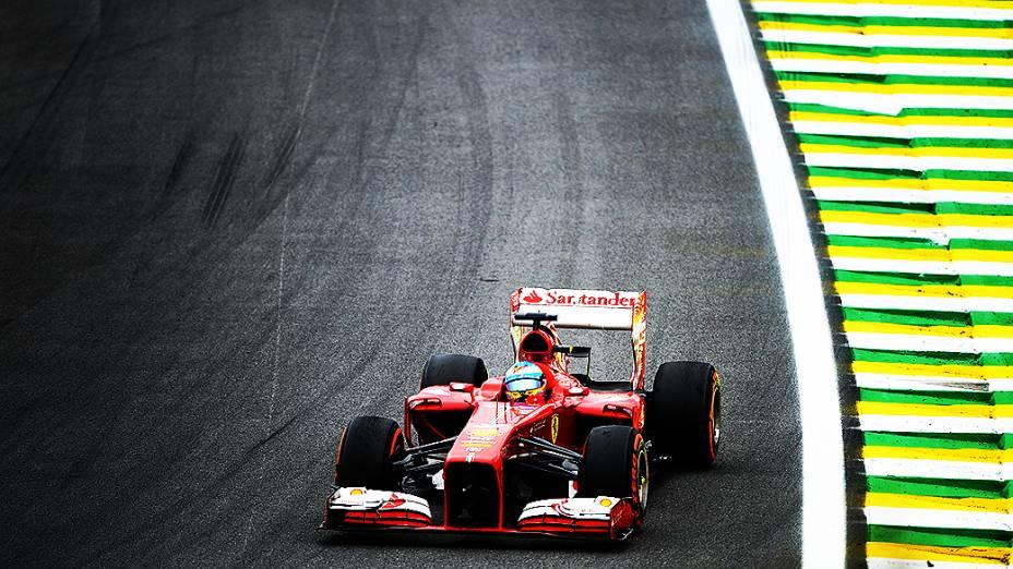 Fernando Alonso durante a corrida do Grande Prêmio do Brasil