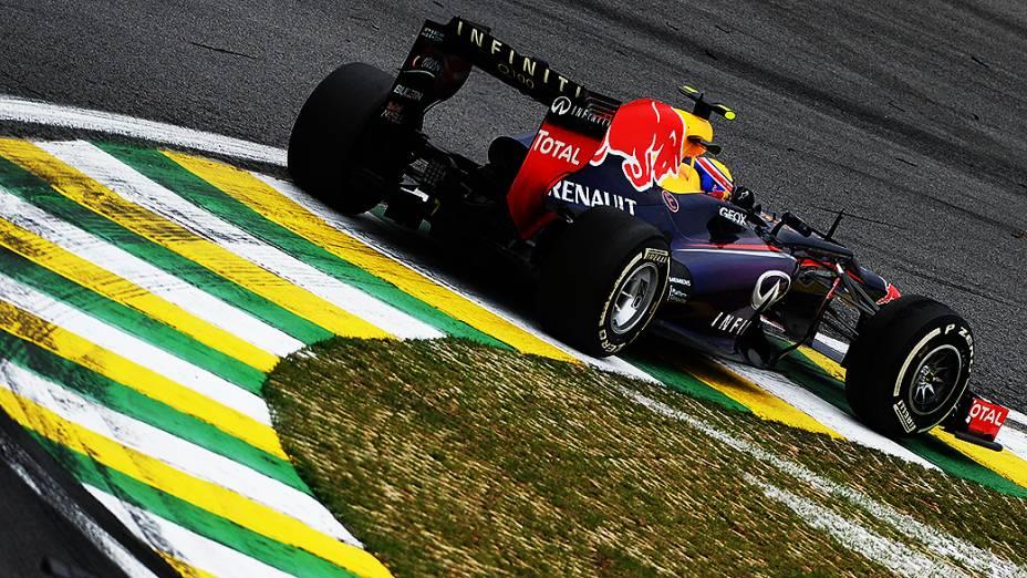 Mark Webber durante a corrida do Grande Prêmio do Brasil