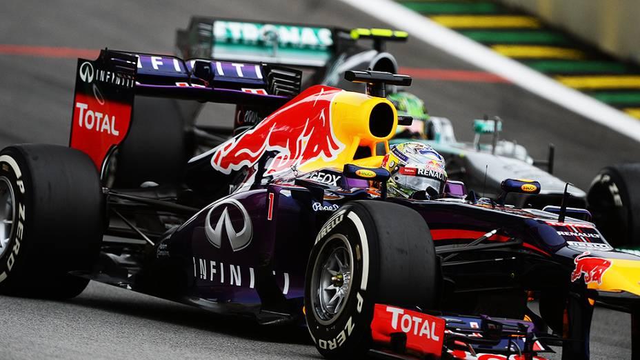 Sebastian Vettel durante a corrida do Grande Prêmio do Brasil
