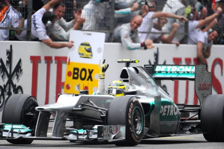 Nico Rosberg, da Mercedes, comemora sua vitória no GP da China de Fórmula 1