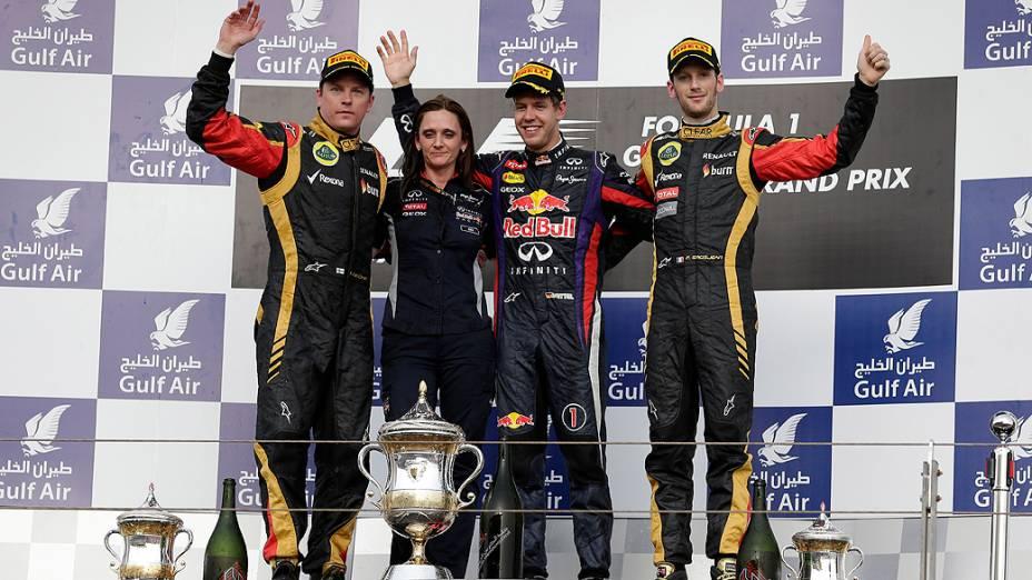 O piloto alemão Sebastian Vettel, atual tricampeão mundial, venceu o Grande Prêmio do Bahrein, quarta prova da temporada mundial da Fórmula 1