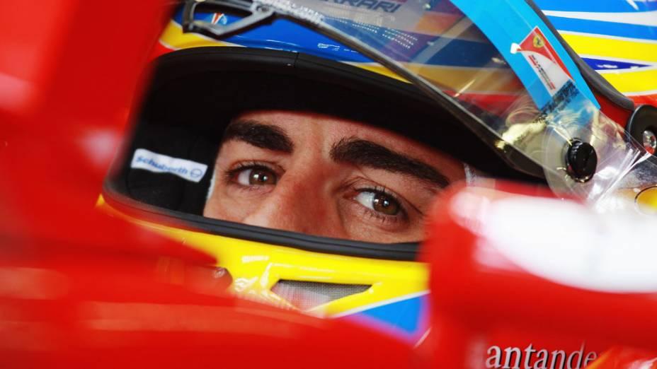 Fernando Alonso, da Ferrari durante o GP do Reino Unido, no circuito de Silverstone, em 2011