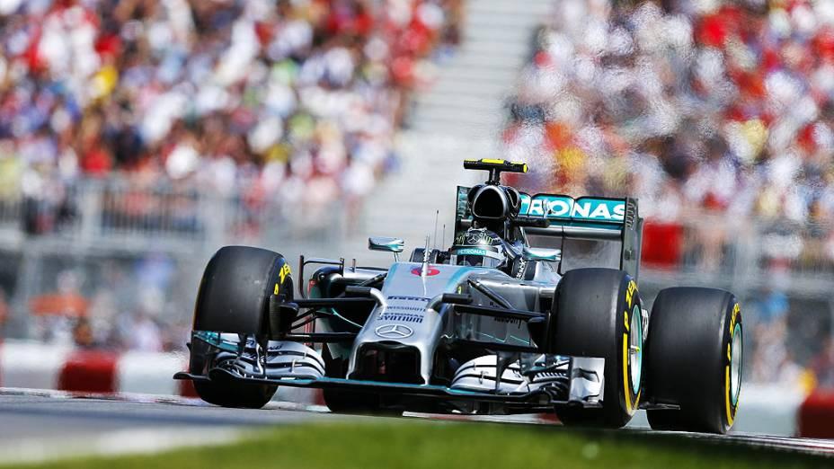 O piloto da Mercedes Nico Rosberg durante o Grande Prémio do Canadá, sétima prova do Mundial de Fórmula 1 de 2014