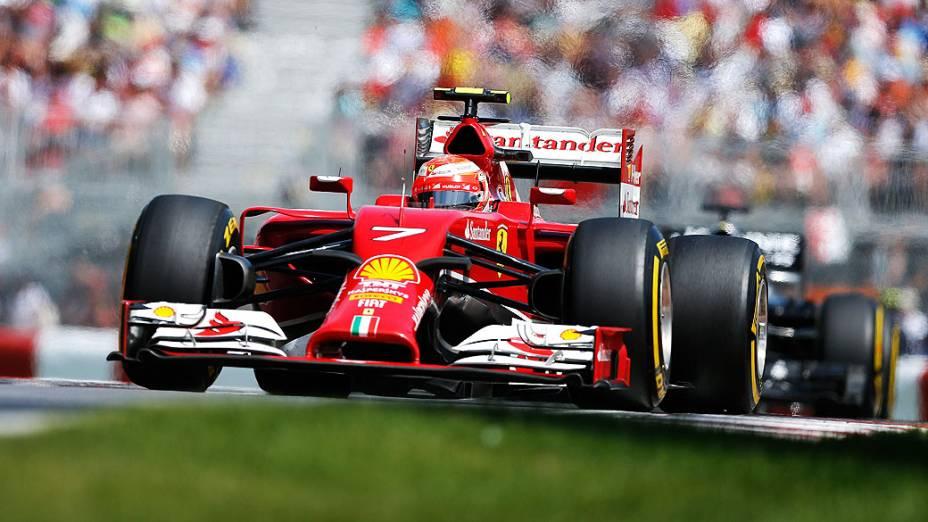 O piloto Kimi Raikkonen durante o Grande Prémio do Canadá, sétima prova do Mundial de Fórmula 1 de 2014