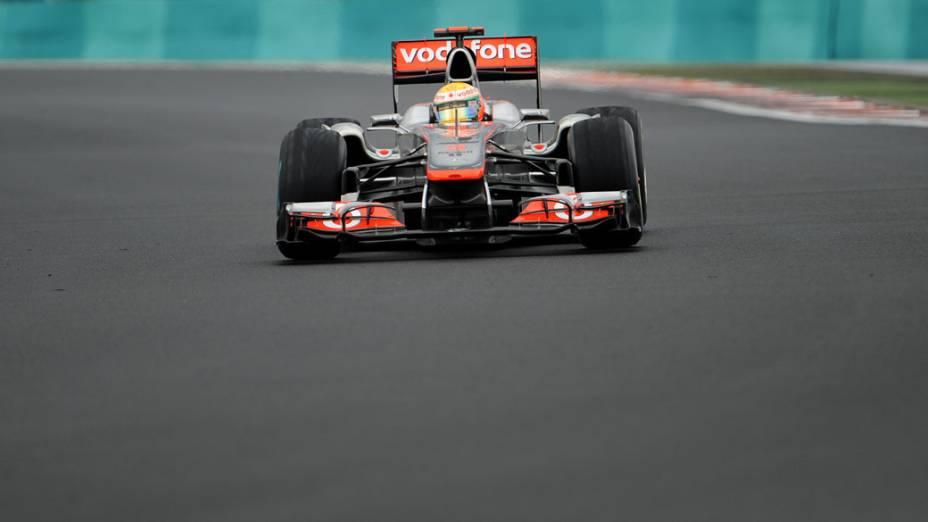 Lewis Hamilton, da McLaren, durante o GP da Hungria. O piloto inglês terminou a prova em terceiro lugar
