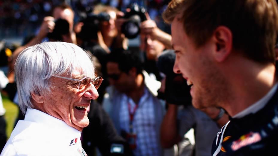 O chefe da Fórmula 1, Bernie Ecclestone: admiração pelo campeão alemão Sebastian Vettel